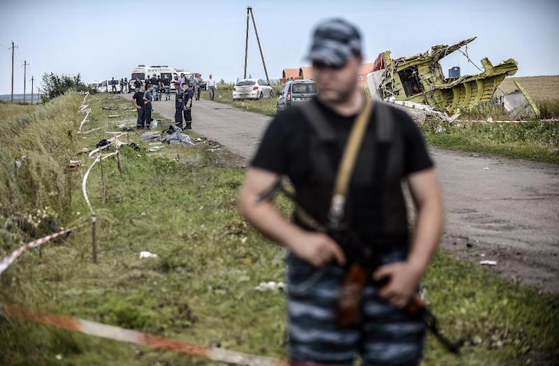 Pro-Russian separatists stand guard in front of the crash site of Malaysia Airlines flight MH17, near the village of Grabove, on July 20, 2014