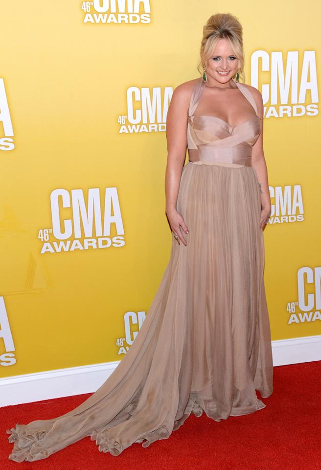 NASHVILLE, TN - NOVEMBER 01:  Country music artist Miranda Lambert attends the 46th annual CMA Awards at the Bridgestone Arena on November 1, 2012 in Nashville, Tennessee.  (Photo by Jason Kempin/Getty Images)