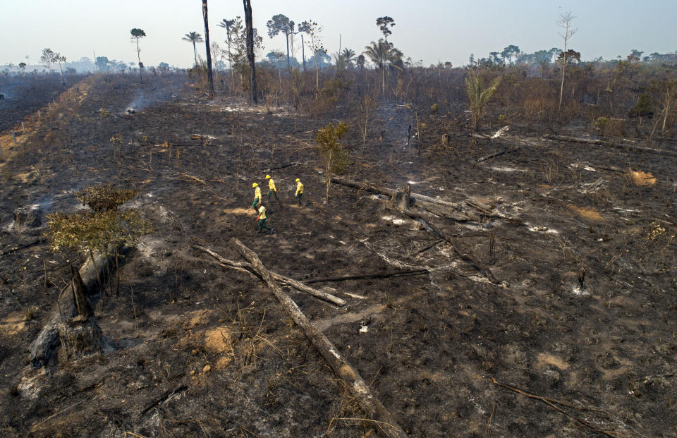 Workers from Brazil's state-run environment agency IBAMA check an area consumed by fire near Novo Progresso, Para state, Brazil, Tuesday, Aug. 18, 2020. Experts say the blazes are pushing the world's largest rainforest toward a tipping point, after which it will cease to generate enough rainfall to sustain itself. (AP Photo/Andre Penner)
