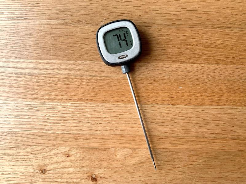 A digital instant-read thermometer.