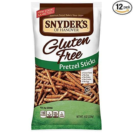 <p>In our humble opinion, gluten-free pretzels are even better than regular pretzels. We love using these <span>Snyder's of Hanover Gluten-Free Pretzel Sticks</span> ($40 for 12) as a vehicle for dips.</p>