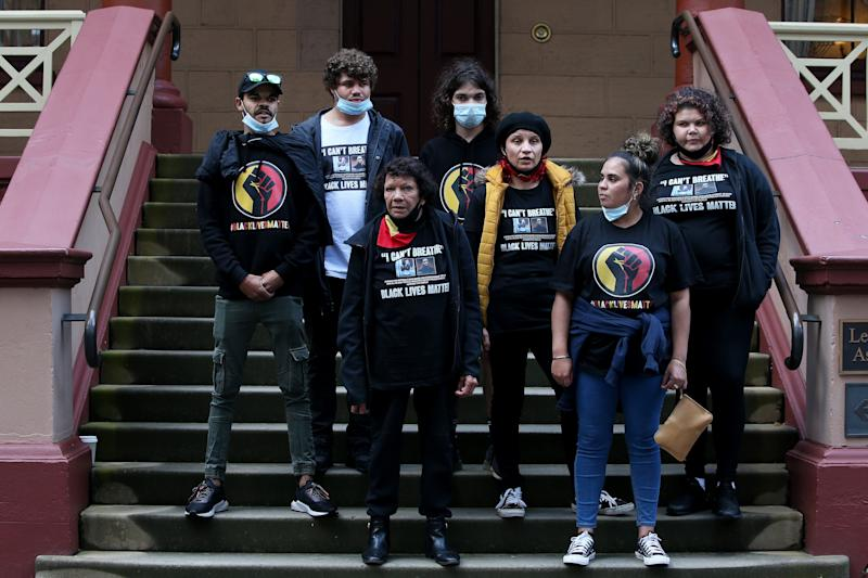Leetona Dungay, family and supporters deliver a petition to NSW Parliament calling for immediate action and the investigation of Aboriginal deaths in custody including the death of David Dungay Jr on July 28, 2020 in Sydney, Australia. The rally was organised to protest against Aboriginal deaths in custody and in solidarity with the global Black Lives Matter movement. (Photo: Lisa Maree Williams via Getty Images)