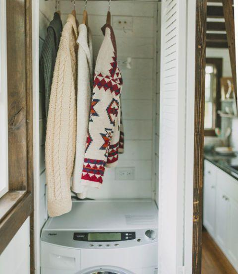 <p>The Spiesses managed to fit a washer and dryer in this 2-foot-wide closet, which still has another 4 square feet of overhead storage space to boot!</p>