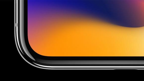 The rounded display corner on the iPhone X.