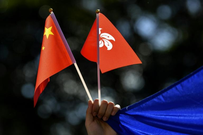 Chinese and Hong Kong flags are waved during a march Sydney