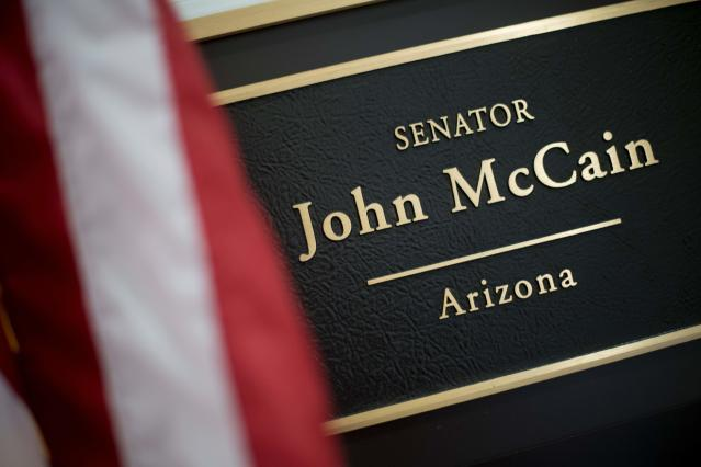 <p>The plaque on Sen. John McCain's office in the Russell Senate Office Building on Capitol Hill in Washington on July 20, 2017. (Photo: Jim Watson/AFP/Getty Images) </p>