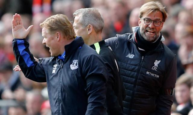 "<span class=""element-image__caption"">Everton manager Ronald Koeman and Jürgen Klopp have words on the touchline during the game.</span> <span class=""element-image__credit"">Photograph: Carl Recine/Reuters</span>"