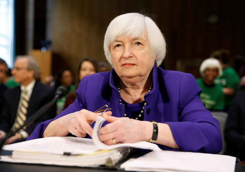 Federal Reserve Chair Janet Yellen prepares to speak before a Senate Banking, Housing, and Urban Affairs Committee hearing Capitol Hill in Washington