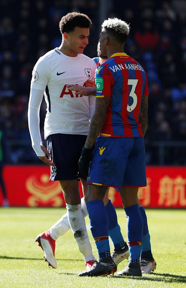 "Soccer Football - Premier League - Crystal Palace vs Tottenham Hotspur - Selhurst Park, London, Britain - February 25, 2018 Tottenham's Dele Alli clashes with Crystal Palace's Patrick van Aanholt Action Images via Reuters/Paul Childs EDITORIAL USE ONLY. No use with unauthorized audio, video, data, fixture lists, club/league logos or ""live"" services. Online in-match use limited to 75 images, no video emulation. No use in betting, games or single club/league/player publications. Please contact your account representative for further details."