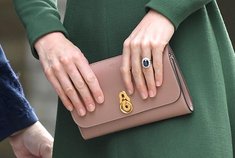 LONDON, ENGLAND - MAY 01: Catherine, Duchess of Cambridge, bag detail, arrives to officially open the new Centre of Excellence at Anna Freud Centre on May 01, 2019 in London, England. The Duchess of Cambridge is Patron of the Anna Freud National Centre for Children and Families. (Photo by Karwai Tang/WireImage)