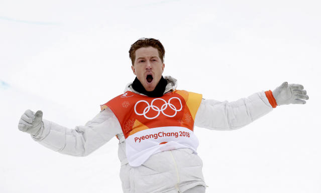 Shaun White, of the United States, reacts after his run during the men's halfpipe finals at Phoenix Snow Park at the 2018 Winter Olympics in Pyeongchang, South Korea, Wednesday, Feb. 14, 2018. (AP Photo/Gregory Bull)