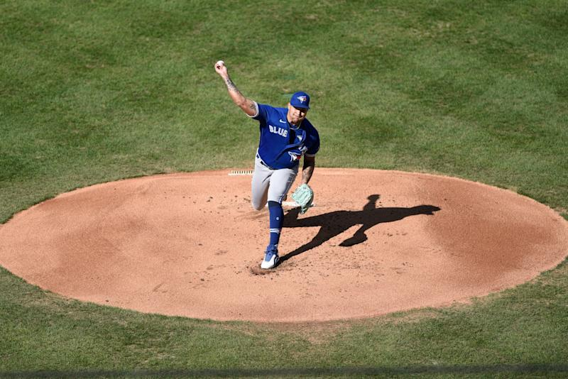 Toronto Blue Jays starting pitcher Taijuan Walker throws during the first inning of a baseball game against the Philadelphia Phillies, Sunday, Sept. 20, 2020, in Philadelphia. (AP Photo/Michael Perez)