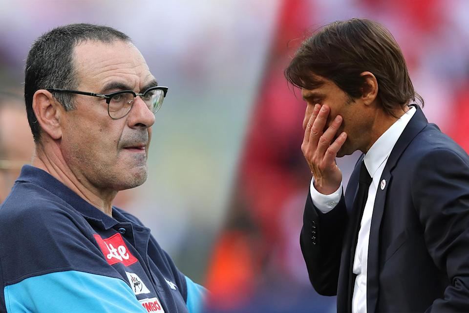 Past and present: Antonio Conte has been fired from Chelsea, with Maurizio Sarri replacing him at the helm
