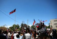 Demonstrators gather during a protest against the government of President Jovenel Moise, in Port-au-Prince
