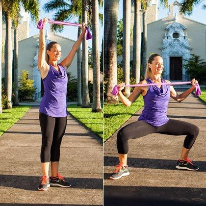 """<p><em>Targets inner thighs, hips, butt, back, arms</em></p> <ul><li>Stand tall with your knees and toes slightly turned out, heels pressed together, holding the folded resistance band overhead [left photo].</li> <li>Step your right foot out wide to the side and immediately bend both knees and lower into plie squat position (just one of our <a href=""""https://www.shape.com/fitness/workouts/top-10-moves-thinner-thighs"""" target=""""_blank"""">10 best inner thigh exercises</a>!), stretching the band wide as you pull it down in front of your chest [right photo].</li> <li>Slide your right foot back into your left as you reach the band overhead and return to the starting position.</li> </ul><p><strong>Do 10 reps per side.</strong></p>"""
