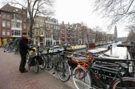 General view of Amsterdam canals before the elections in Amsterdam
