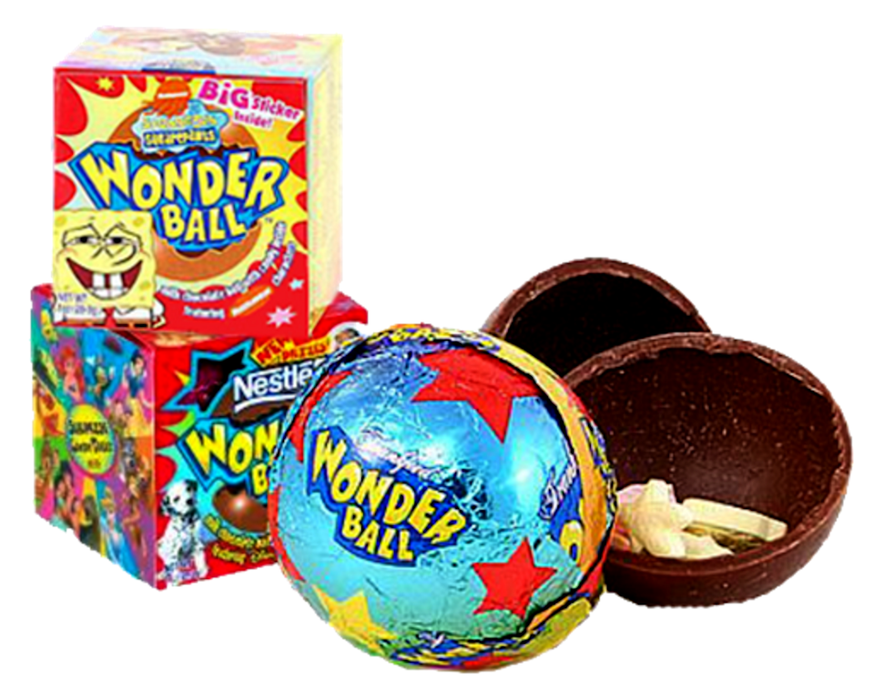 <p><strong>Wonder Ball: SpongeBob Edition</strong></p><p>Wonder Ball was originally released in the '90s before leaving shelves for a few years. In 2004, it was introduced again, this time SpongeBob SquarePants-themed and filled with little candies instead of a plastic toy. </p>