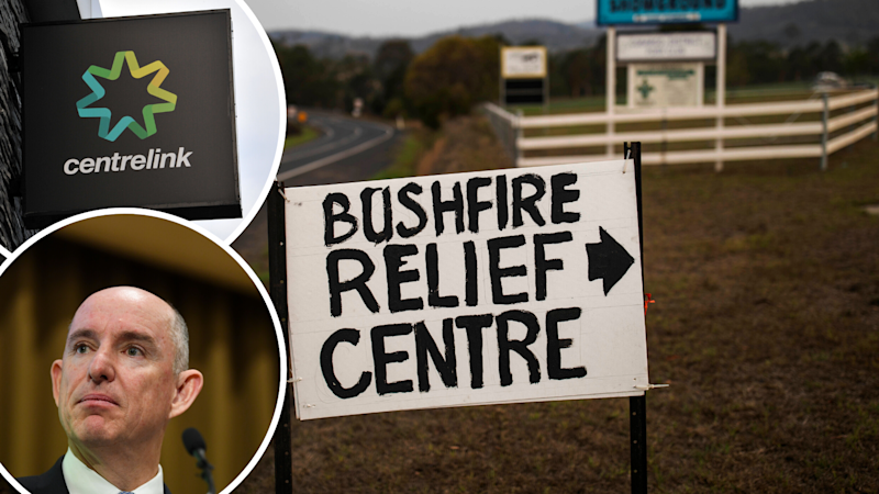 A picture of a bushfire relief centre sign, as well as a Centrelink sign and Governnment Minister Stuart Roberts.