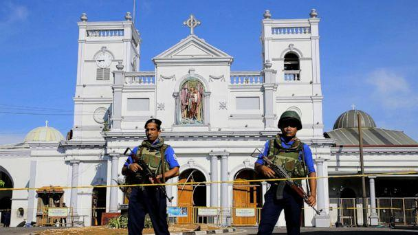 PHOTO: Sri Lankan Navy soldiers stand guard in front of the St. Anthony's Shrine a day after the series of blasts, in Colombo, Sri Lanka, April 22, 2019. (Eranga Jayawardena/AP)
