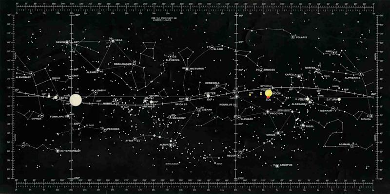 A starchart used during the Apollo 11 mission plans at NASA. Image: NASA