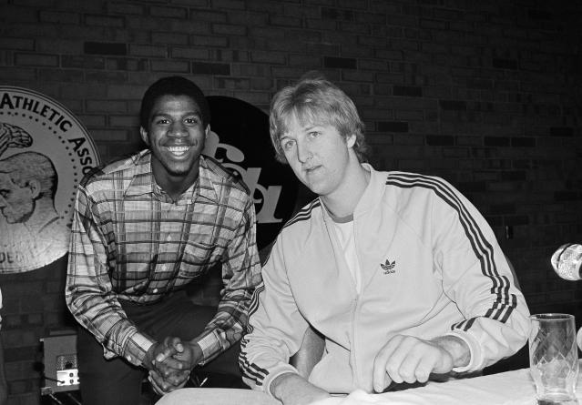 Earvin 'Magic' Johnson, left, of Michigan State and Larry Bird of Indiana State pose before their national title game in 1979. (AP Photo/Lennox McLendon)