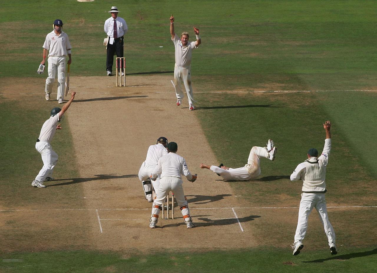 LONDON - SEPTEMBER 12:  Shane Warne of Australia celebrates the wicket of Paul Collingwood of England during day five of the Fifth npower Ashes Test between England and Australia played at The Brit Oval on September 12, 2005 in London, United Kingdom  (Photo by Hamish Blair/Getty Images)