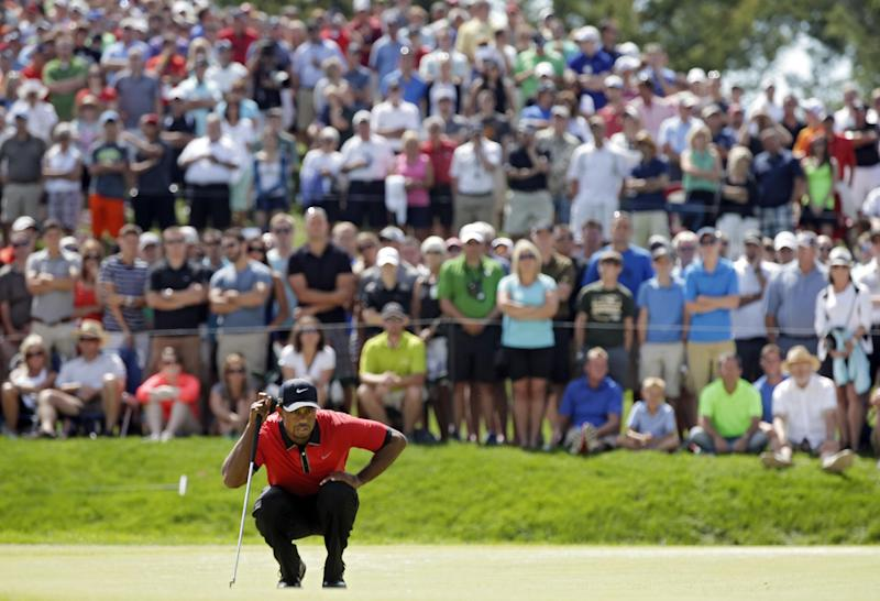 Tiger Woods looks over his putt on the seventh hole during the final round of the Bridgestone Invitational golf tournament Sunday, Aug. 4, 2013 at Firestone Country Club in Akron, Ohio. (AP Photo/Mark Duncan)
