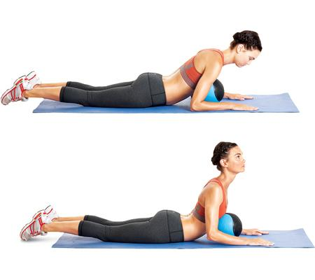"<b>Download and go! Take this workout with you</b> Pilates classes can come with a hefty price tag, so we asked pilates teacher Lauren Piskin to create this at-home workout for  <i>WH</i> readers. It'll tone your whole body, but it gives your abs some extra love. All you need is a pilates ball. ""The ball mimics the resistance of the machine to challenge your muscles as you move through fluid movements,"" says Piskin. Do the following sequence two or three times a week. Starting with the first move, do eight to 10 reps of each exercise with little to no rest between exercises. Focus on form and control through each move for the sleekest results.  <b>Swan on ball</b> Lie face-down with your legs extended shoulder-width apart behind you. Position the ball under your chest and rest your forearms on the floor, palms down, elbows close to your body. Bring your shoulder blades back and down, press your palms lightly on the floor, and slowly lift your head and chest as you lengthen your spine. Hold for two or three seconds (imagine trying to create as much space between your ears and toes as possible), then return to the starting position. That's one rep.  <i>QUICK TIP Keep your core engaged throughout the movement to prevent putting pressure on your lower back.</i>"