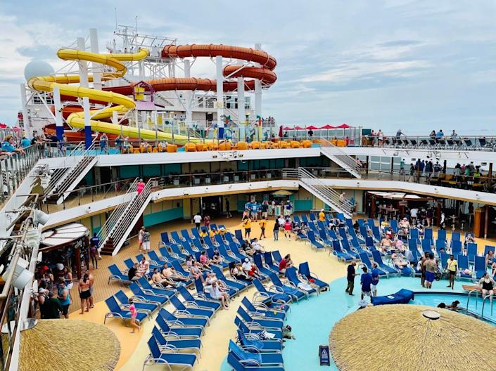 The deck on the Carnival Vista cruise ship.
