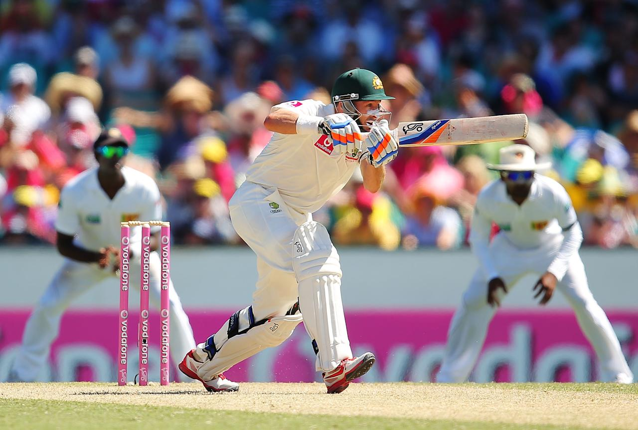 SYDNEY, AUSTRALIA - JANUARY 04:  Michael Hussey of Australia bats during day two of the Third Test match between Australia and Sri Lanka at Sydney Cricket Ground on January 4, 2013 in Sydney, Australia.  (Photo by Brendon Thorne/Getty Images)