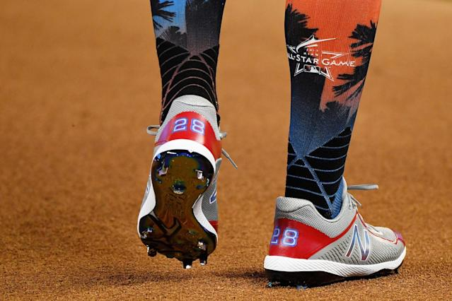 <p>A detail of the shoes of Corey Kluber #28 of the Cleveland Indians and the American League during batting practice for the 88th MLB All-Star Game at Marlins Park on July 11, 2017 in Miami, Florida. (Photo by Mark Brown/Getty Images) </p>