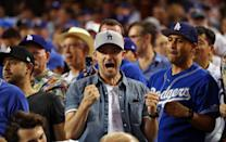 <p>Justin Timberlake celebrates after Joc Pederson #31 of the Los Angeles Dodgers hits a home run in the fifth inning of Game 2 of the 2017 World Series against the Houston Astros at Dodger Stadium on Wednesday, October 25, 2017 in Los Angeles, California. (Photo by Alex Trautwig/MLB Photos via Getty Images) *** Local Caption *** Justin Timberlake </p>
