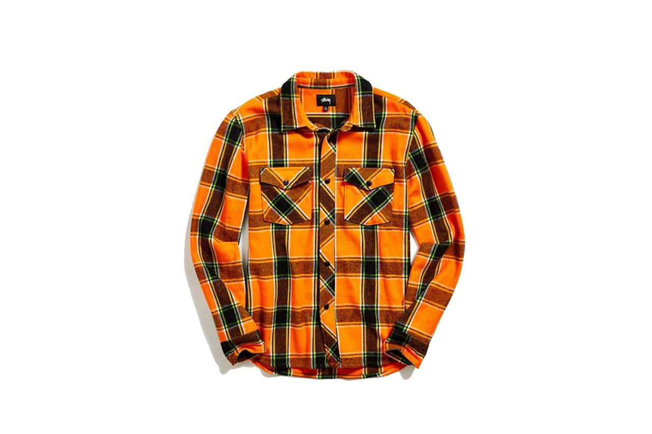 "$95, Urban Outfitters. <a href=""https://www.urbanoutfitters.com/shop/stussy-ace-plaid-flannel-button-down-shirt?category=mens-sale-flannels-jackets&color=080&type=REGULAR"">Get it now!</a>"