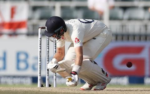 Joe Root reels in pain after inside edging it onto his inside thigh - Credit: REUTERS