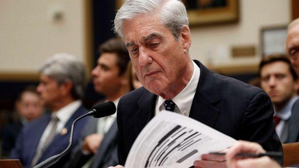 PHOTO: Former special counsel Robert Mueller checks pages in the report as he testifies before the House Judiciary Committee hearing on his report on Russian election interference, on Capitol Hill, July 24, 2019 in Washington, D.C. (Alex Brandon/AP)