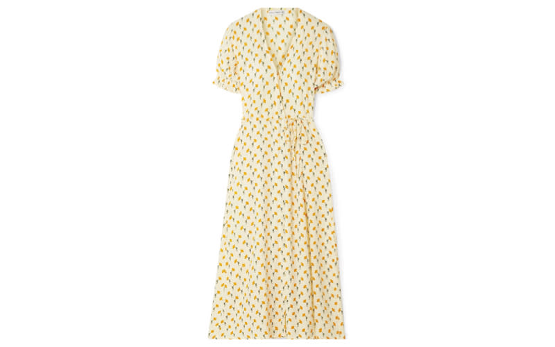 """Influencer favourite Faithfull The Brand is stocked full of gram-worthy ensembles and we've fallen head over heels for the 'Hana' wrap dress. Just as perfect for summer weddings as it is the beach. <a href=""""https://www.net-a-porter.com/gb/en/product/1117522/Faithfull_The_Brand/hana-floral-print-crepe-wrap-dress"""" rel=""""nofollow noopener"""" target=""""_blank"""" data-ylk=""""slk:Shop now"""" class=""""link rapid-noclick-resp""""><em>Shop now</em></a>."""