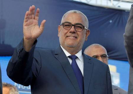 FILE PHOTO: Moroccan Prime Minister Abdelilah Benkirane and secretary-general of the Justice and Development party (PJD) waves during a party meeting in Rabat, Morocco October 6, 2016.  REUTERS/Stringer/File Photo