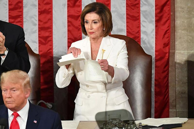 House Speaker Nancy Pelosi ripping up her copy of President Donald Trump's State of the Union on Tuesday | MANDEL NGAN/Getty Images