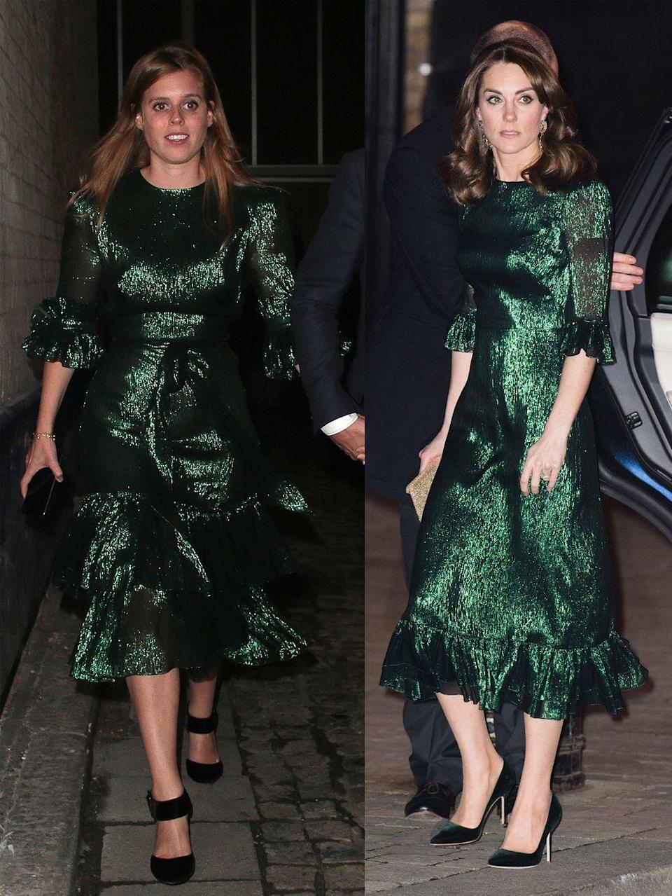 """<p>Princess Beatrice and Duchess Kate wore similar emerald dresses from cool-girl brand, <a href=""""https://www.townandcountrymag.com/society/tradition/a31213638/kate-middleton-princess-beatrice-same-green-dress/"""" rel=""""nofollow noopener"""" target=""""_blank"""" data-ylk=""""slk:The Vampire's Wife"""" class=""""link rapid-noclick-resp"""">The Vampire's Wife</a>. </p><p>Princess Beatrice attended <em>The Dior Sessions</em> book launch afterparty on October 1, 2019 in London. </p><p>Catherine, Duchess of Cambridge, attended Guinness Storehouse's Gravity Bar in Dublin during the first day of her Ireland visit on March 3, 2020. </p>"""