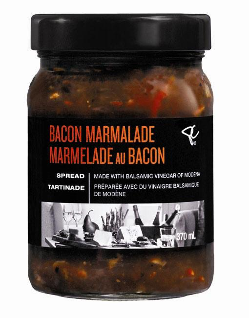 """Weirdly delicious: President's Choice black label Bacon Marmalade. When you think of glamorous food, bacon likely isn't the first thing that comes to mind. But who can resist the salty, smoky flavour? Clearly not the celebs at the Tastemakers gifting lounge – they were treated to samples of the new President's Choice black label Bacon Marmalade. The unusual treat combines the taste of bacon with sweet sautéed onions, balsamic vinegar and spices. Stars Tonya Lee Williams of """"The Young and the Restless"""" fame and Lee Rumohr of the film """"Breakaway"""" were fans. $6. www.pc.ca (Available in October)"""