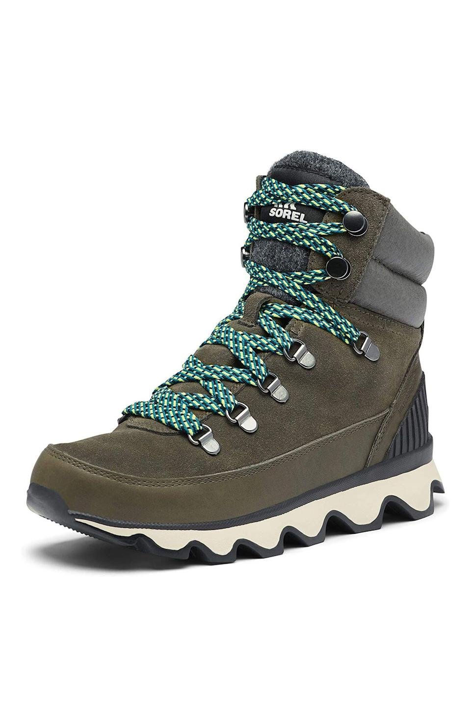 """<p><strong>Sorel</strong></p><p>amazon.com</p><p><strong>$164.95</strong></p><p><a href=""""https://www.amazon.com/dp/B08B7WWC2T?tag=syn-yahoo-20&ascsubtag=%5Bartid%7C10056.g.34620153%5Bsrc%7Cyahoo-us"""" rel=""""nofollow noopener"""" target=""""_blank"""" data-ylk=""""slk:shop it"""" class=""""link rapid-noclick-resp"""">shop it</a></p><p>Behold, a pair of waterproof sneakers that are practical and chic in equal measure. Not only will these keep toes from freezing in the rain and snow, but also they have traction that makes them well-suited for hikes (especially the ones where you'd maybe like to try and get a good outdoorsy 'gram). </p>"""