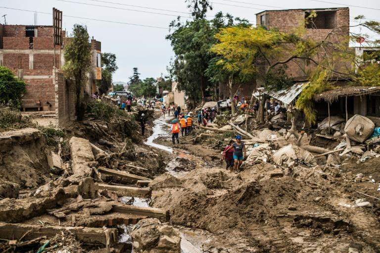 The damage caused by flash floods in Huachipa district, east of Lima, Peru on March 19, 2017