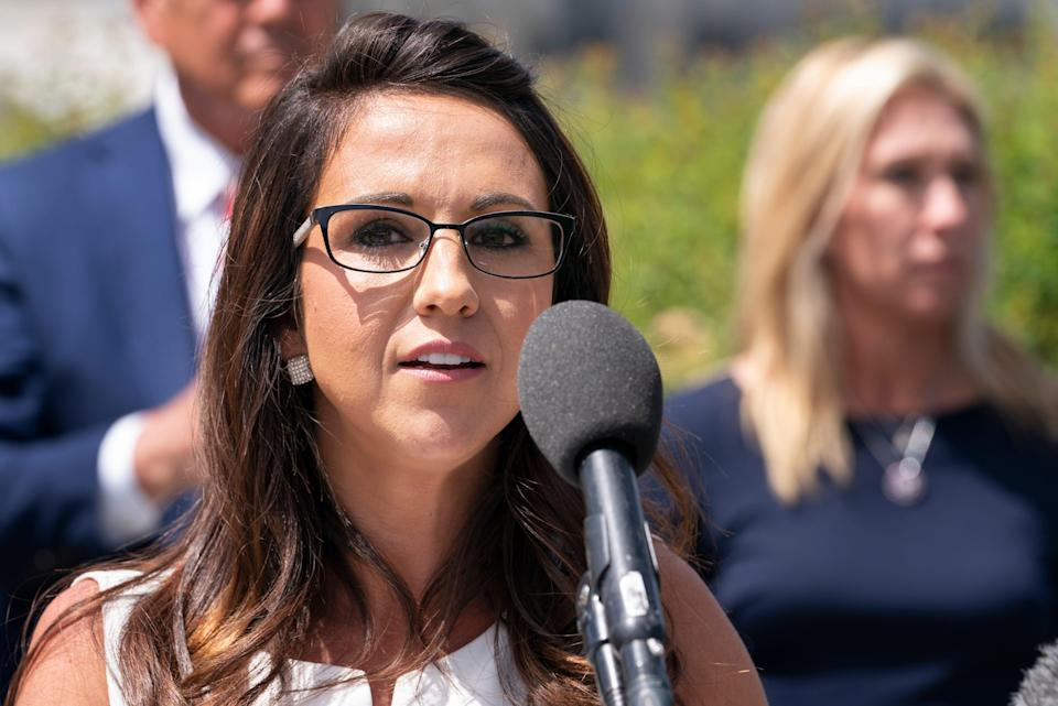 """Rep. Lauren Boebert, R-Colo., speaks during a news conference, Wednesday, May 12, 2021, expressing opposition to """"critical race theory,"""" during a news conference on Capitol Hill in Washington. (AP Photo/Jacquelyn Martin) ORG XMIT: DCJM126"""