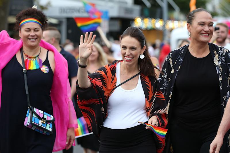 New Zealand Prime Minister Jacinda Ardern, center, is the first prime minister to walk in the Pride Parade on Feb. 17, 2018 in Auckland, New Zealand.