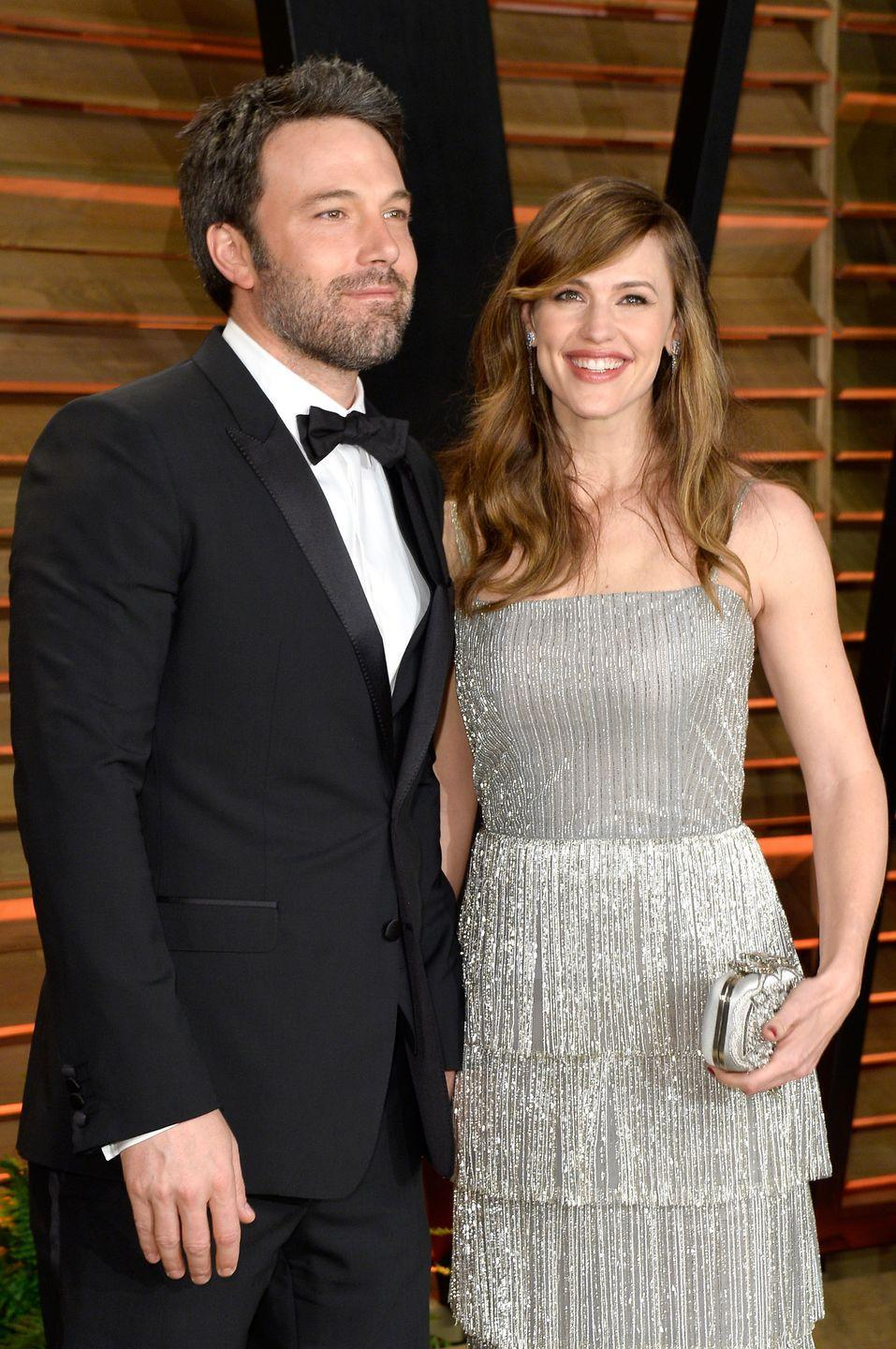 """<p>Ben fell in love with his future wife, Jennifer Garner, on the set of Daredevil. 'We met on Pearl Harbor, which people hate, but we fell in love on Daredevil,' Ben told <a href=""""https://www.playboy.com/read/ben-affleck-batman-playboy-interview"""" rel=""""nofollow noopener"""" target=""""_blank"""" data-ylk=""""slk:Playboy"""" class=""""link rapid-noclick-resp"""">Playboy</a>. 'By the way, she won most of the fights in the movie, which was a pretty good predictor of what would happen down the road—my wife, holding swords and beating the living shit out of me.'</p><p>The TL;DR version: Jen and Ben <a href=""""http://people.com/celebrity/ben-affleck-and-jennifer-garner-are-getting-divorced/"""" rel=""""nofollow noopener"""" target=""""_blank"""" data-ylk=""""slk:split in 2015"""" class=""""link rapid-noclick-resp"""">split in 2015</a>, tried to work things out, went to couple's therapy, called off the divorce, but ultimately divorced in 2017.</p>"""