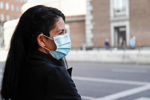 A woman wears a mask in Madrid. (Getty Images)