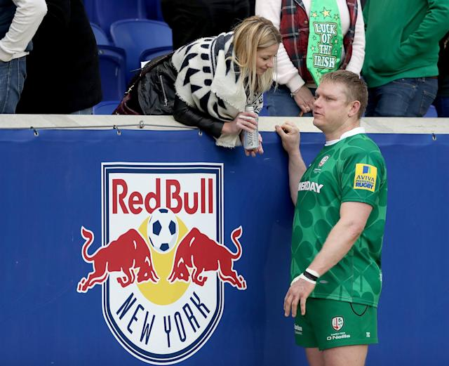 HARRISON, NJ - MARCH 12: Tom Court #17 of London Irish speaks after the Aviva Premiership match against Saracens on March 12, 2016 at Red Bull Arena in Harrison, New Jersey. (Photo by Elsa/Getty Images)