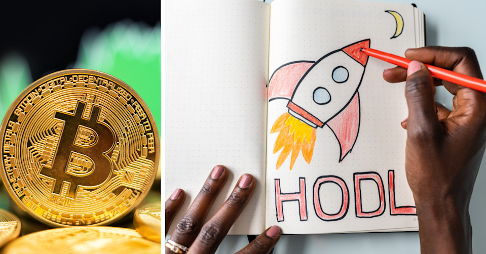 Image of a Bitcoin in a blurred background of a stock in the green and a drawing of a rocket with the phrase 'HODL'