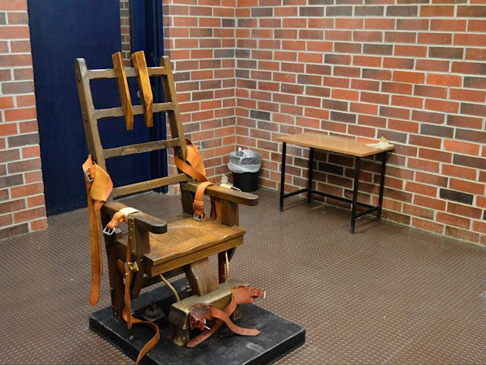 This March 2019, file photo, provided by the South Carolina Department of Corrections shows the state's electric chair in Columbia, S.C.  (AP)