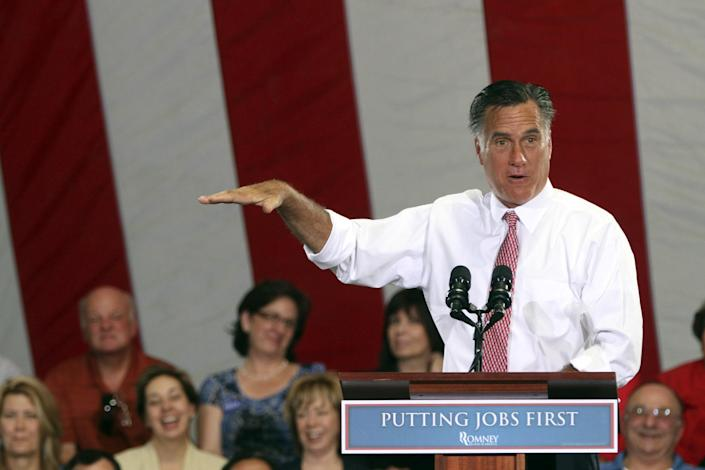 Republican presidential candidate, former Massachusetts Gov. Mitt Romney, speaks during a campaign event at the Somers Furniture warehouse in Las Vegas, Tuesday, May 29, 2012. (AP Photo/Mary Altaffer)